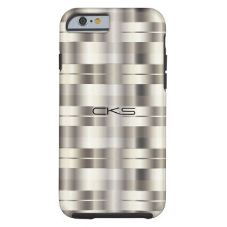 Capa Tough Para iPhone 6 A prata pura listra   Monogrammed
