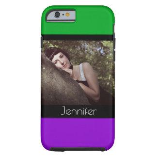 Capa Tough Para iPhone 6 Adicione seus Phototo & nome com verde, roxo,