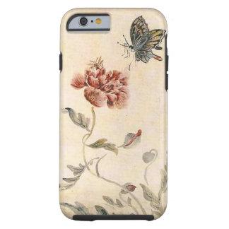 Capa Tough Para iPhone 6 Aguarela da abelha, da borboleta e da papoila do