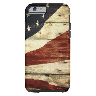 Capa Tough Para iPhone 6 Americana de madeira da bandeira americana do