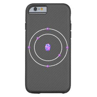 Capa Tough Para iPhone 6 Átomo de carbono com fundo da fibra do carbono