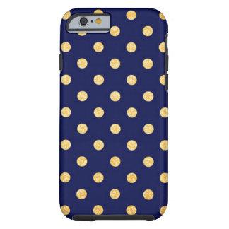 Capa Tough Para iPhone 6 Azuis marinhos com pontos do ouro