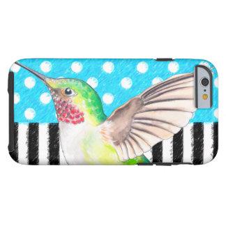 Capa Tough Para iPhone 6 Azul artística do colibri