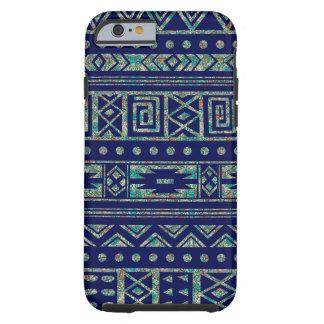 Capa Tough Para iPhone 6 Azul com teste padrão tribal colorido de Ikat