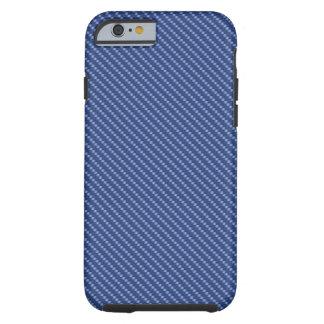 Capa Tough Para iPhone 6 Base azul da fibra do carbono