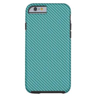Capa Tough Para iPhone 6 Base azul da fibra do carbono do Aqua