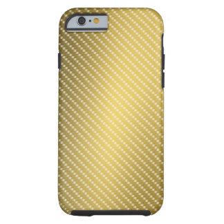 Capa Tough Para iPhone 6 Base do teste padrão da fibra do carbono do ouro