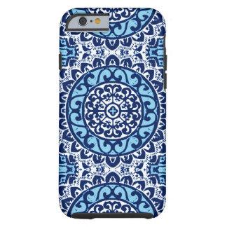 Capa Tough Para iPhone 6 Batik, azuis marinhos & branco do sudoeste da