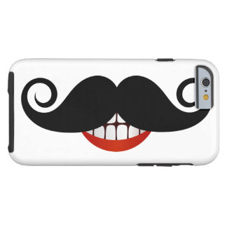 Capa Tough Para iPhone 6 Bigode encaracolado e sorriso do divertimento