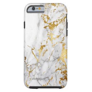 Capa Tough Para iPhone 6 Branco e tensão de mármore do teste padrão do ouro