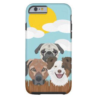 Capa Tough Para iPhone 6 Cães afortunados da ilustração em uma cerca de