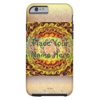 Capa Tough Para iPhone 6 Caixa amarelo alaranjado e de Brown do