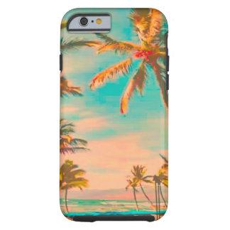 Capa Tough Para iPhone 6 Cena havaiana/cerceta da praia do vintage de