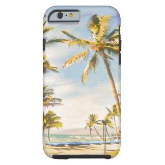 Capa Tough Para iPhone 6 Cena havaiana da praia do vintage de PixDezines