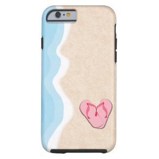 Capa Tough Para iPhone 6 Chinelos cor-de-rosa na praia