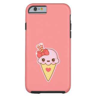 Capa Tough Para iPhone 6 Cone feliz do sorvete da morango de Kawaii