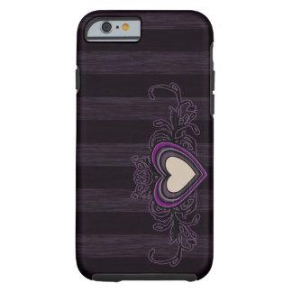 Capa Tough Para iPhone 6 Coração sujo roxo da obscuridade das listras