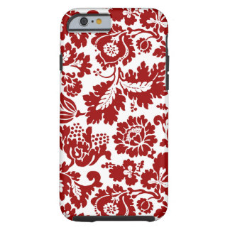 Capa Tough Para iPhone 6 Damasco floral de William Morris, vermelho escuro