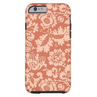 Capa Tough Para iPhone 6 Damasco floral, pêssego e coral de William Morris