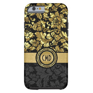 Capa Tough Para iPhone 6 Damasco metálico Monogrammed do vintage do preto &