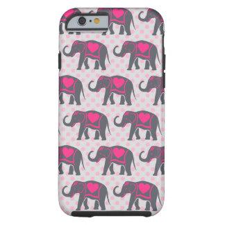 Capa Tough Para iPhone 6 Elefantes cor-de-rosa quentes cinzentos bonito em