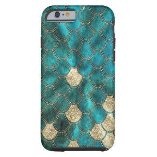 Capa Tough Para iPhone 6 Escalas verdes da sereia do Aqua com brilho do