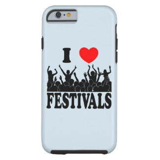 Capa Tough Para iPhone 6 Eu amo os festivais (o preto)