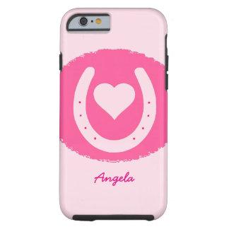 Capa Tough Para iPhone 6 ferradura e coração cor-de-rosa