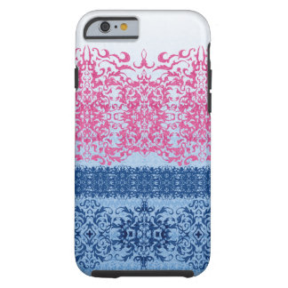 Capa Tough Para iPhone 6 Flor de lis intrincada no rosa e no azul