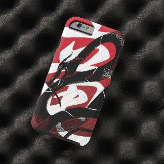 Capa Tough Para iPhone 6 Fundo japonês preto do vermelho do dragão