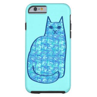 Capa Tough Para iPhone 6 Gato, Aqua e azuis marinhos modernos do meio