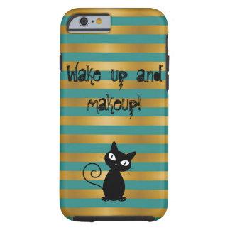 Capa Tough Para iPhone 6 Gato preto lunático, Listrado-Acordar ascendente e