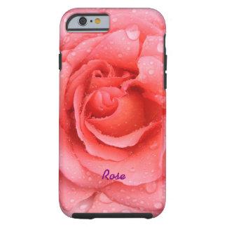 Capa Tough Para iPhone 6 Gotas cor-de-rosa vermelhas românticas da água
