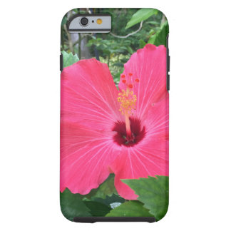 Capa Tough Para iPhone 6 Hibiscus do rosa quente