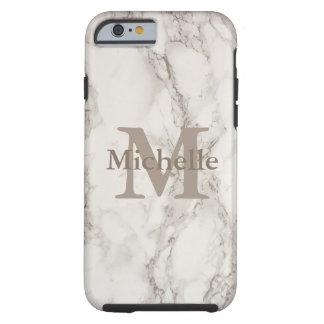 Capa Tough Para iPhone 6 Impressão de mármore branco elegante nome