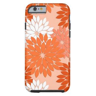 Capa Tough Para iPhone 6 Impressão floral moderno do quimono, laranja coral