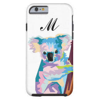 Capa Tough Para iPhone 6 Koala colorido do pop art Monogrammed