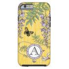Capa Tough Para iPhone 6 Lilac do monograma e iphone amarelo de Wistria do