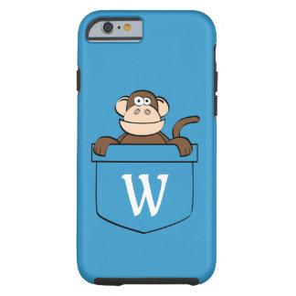 Capa Tough Para iPhone 6 Macaco engraçado em um bolso Monogrammed