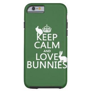 Capa Tough Para iPhone 6 Mantenha a calma e ame coelhos - todas as cores