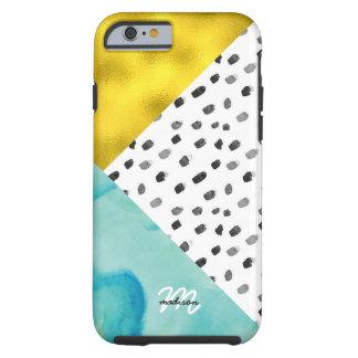 Capa Tough Para iPhone 6 Meios mistos do Aqua e do ouro Monogrammed