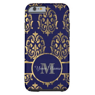 Capa Tough Para iPhone 6 Monograma do damasco do marinho e do ouro