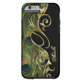 Capa Tough Para iPhone 6 Monograma dourado de Iphone 6 do pavão elegante