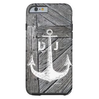 Capa Tough Para iPhone 6 Monograma náutico da âncora de madeira rústica do