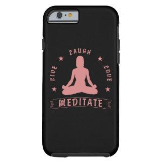 Capa Tough Para iPhone 6 O amor vivo do riso Meditate texto fêmea (o rosa)