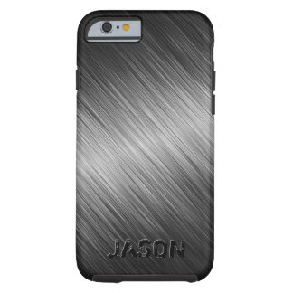 Capa Tough Para iPhone 6 O preto simples MonogramMed escovou o olhar do