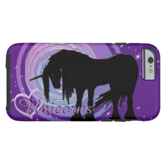 Capa Tough Para iPhone 6 O unicórnio preto Mystical (roxo/borrão azul)