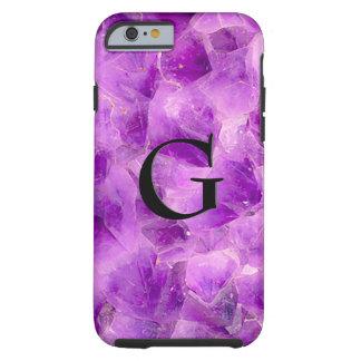 Capa Tough Para iPhone 6 Ônix do teste padrão da pedra de gema, o Amethyst