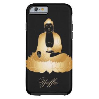 Capa Tough Para iPhone 6 Ouro Buddha & design do abstrato das flores de