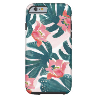 Capa Tough Para iPhone 6 Palma tropical da aguarela, Hibiskus havaiano